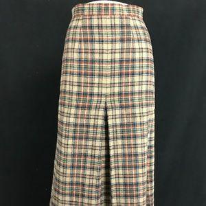 70s Plaid Pleated Wool Skirt